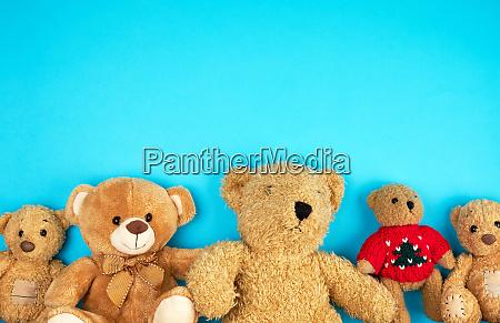 teddy bears on a blue background