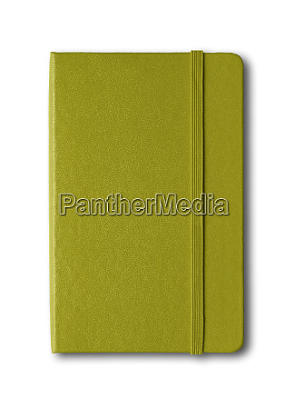 olive green closed notebook isolated on