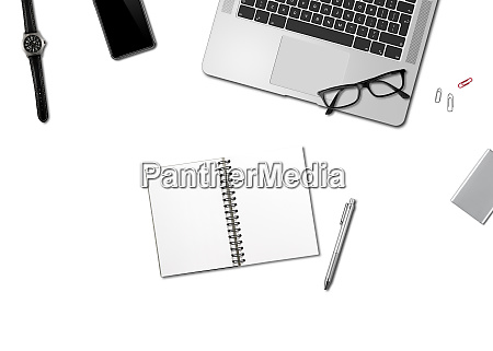 office desk mockup top view isolated