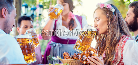 woman in tracht looking into camera