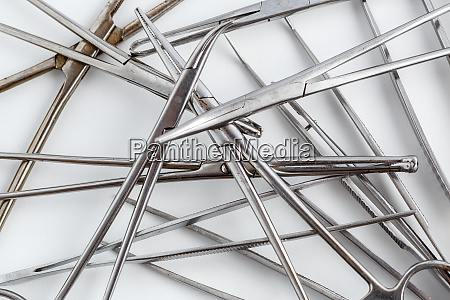 surgical instruments on white isolated background