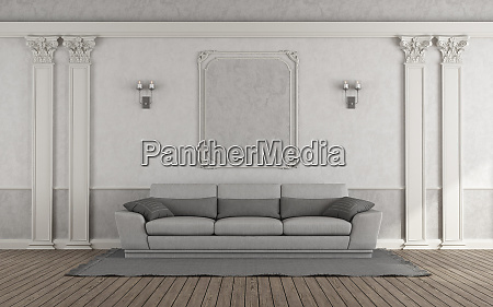 living room with gray sofa in