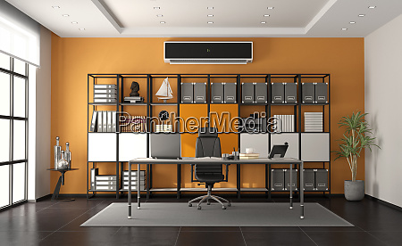 gray and orange modern office