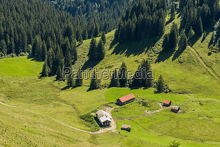 alpine pastures and huts in the