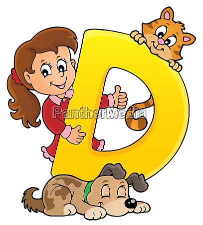 girl and pets with letter d