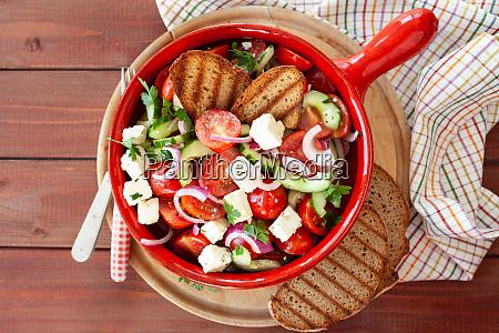 tasty greek salad with feta cheese