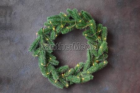 christmas door wreath made of tree