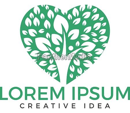 human tree heart shape logo design