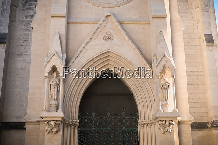 architectural detail of neo gothic church