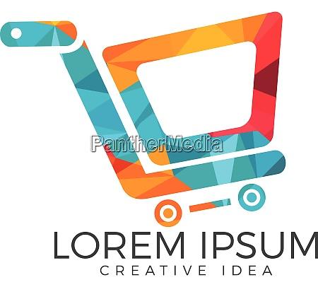shopping cart vector logo design