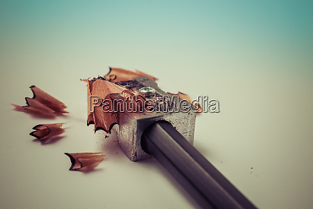 closeup of sharpening a pencil with