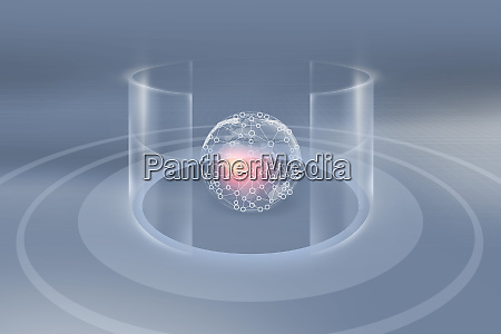 blockchain earth globe inside cylindrical transparent