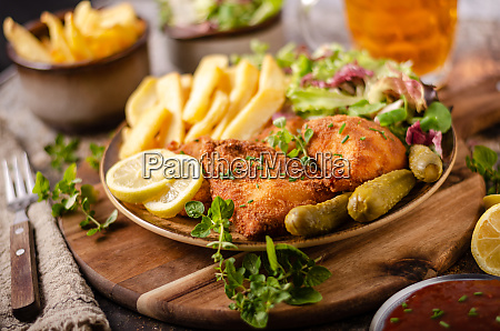 original schnitzel with homemade french fries