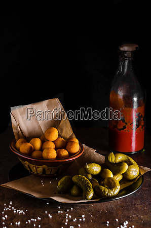 croquettes and ketchup