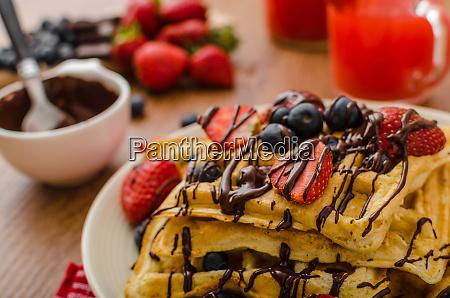 belgian waffles with blueberries strawberries
