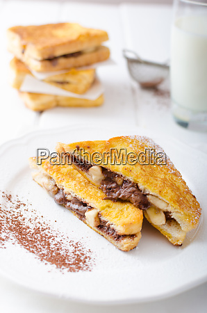 french toast stuffed with chocolate and