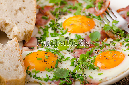 spring omelette with bacon egg and