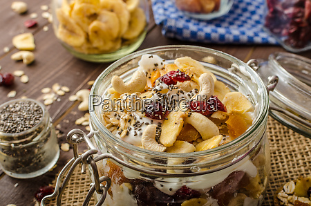 homemade yogurt with granola dried fruit