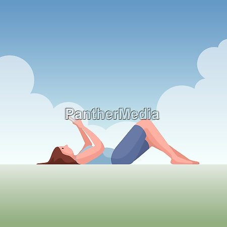 young woman lying down under the