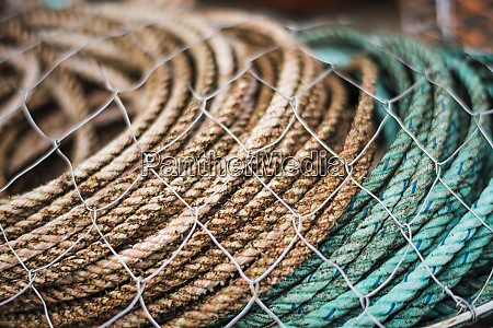 fishing gear rope and nets stacked