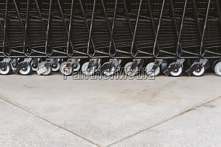 supermarket trollies carts stacked together