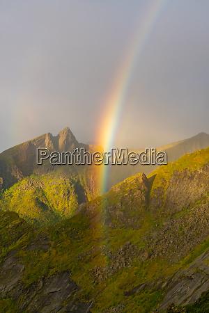rainbow in the mountains on senja