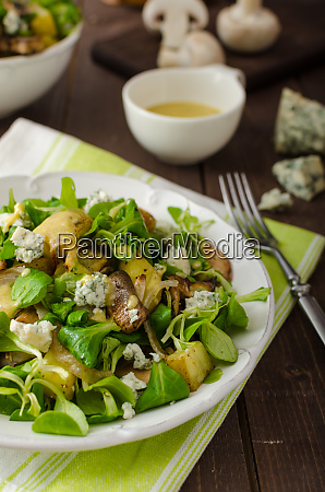 fresh salad with vegetable and blue