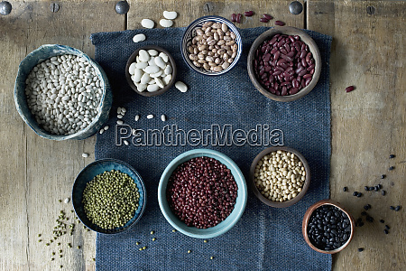bowls of various dried beans