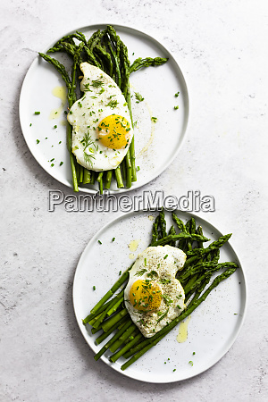 asparagus and fried eggs on plates
