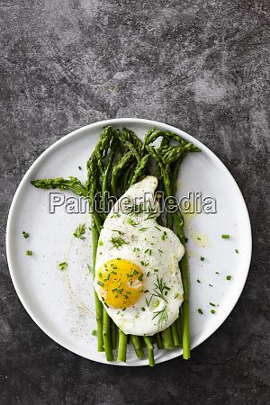 asparagus and fried egg on a
