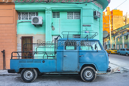 parked modified blue van havana cuba
