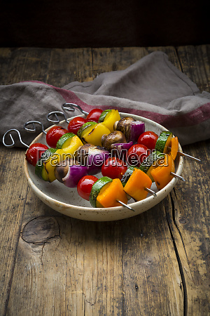 grilled vegetable skewers on a plate