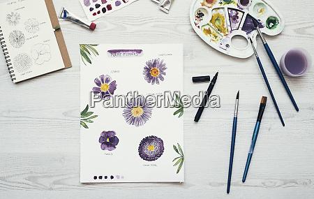 watercolor painting of purple flowers on