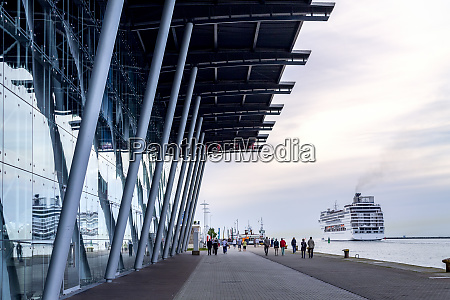 cruise terminal waterfront promenade and leaving