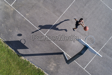 aerial view of young man playing