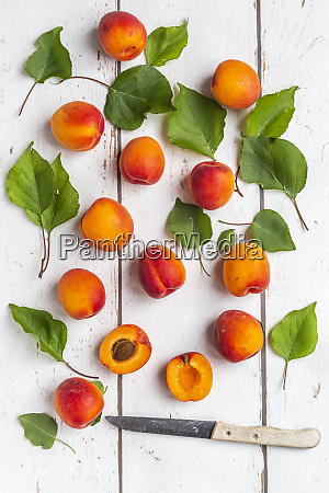 apricots and knife on white wood