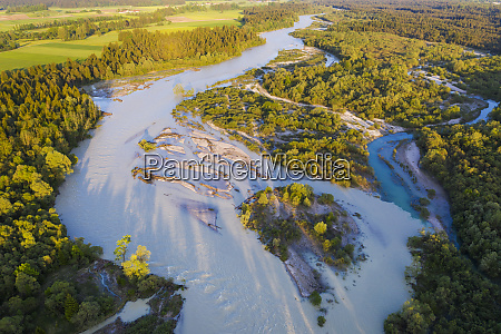 aerial view of isar river high