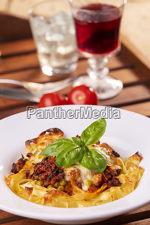 tagliatelle baked with cheese on a