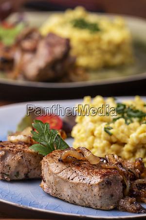 roasted pork fillet and spaetzle in