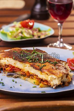greek moussaka dish on a plate