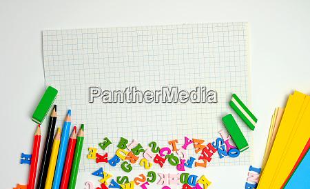 school supplies multicolored wooden pencils