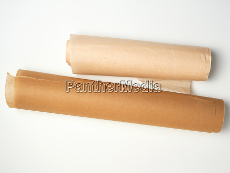two rolls of brown parchment paper
