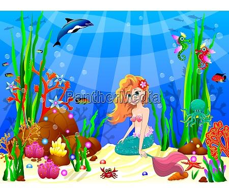 little mermaid among the inhabitants of