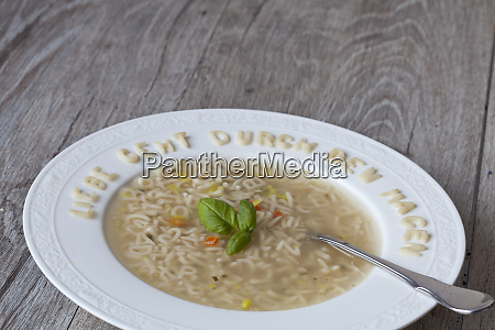abc soup with german text for