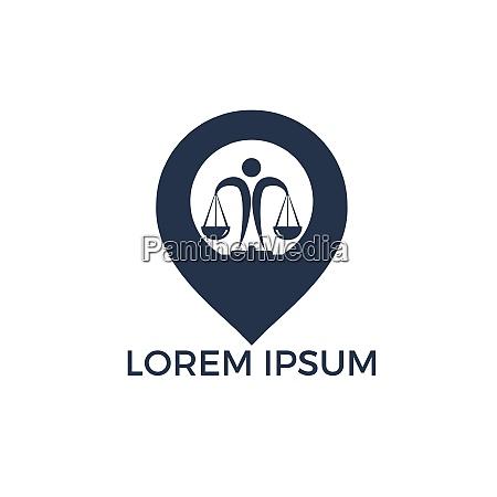 libra and map pointer logo design