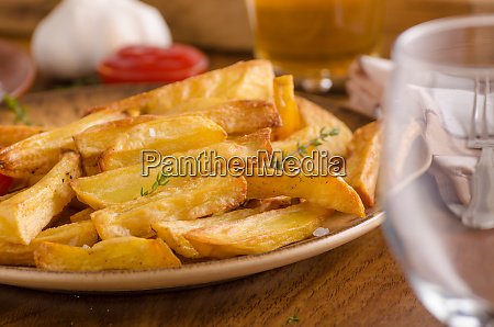 homemade french fries with organic ketchup