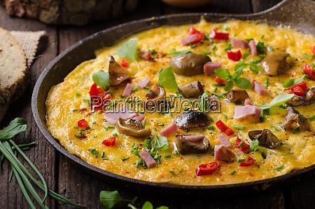 fresh omelette pickles mushrooms and chilli