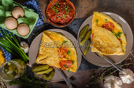 omelet with chorizo and cheddar cheese