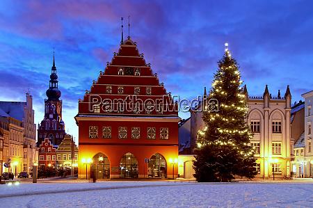 christmas market in oldtown greifswald