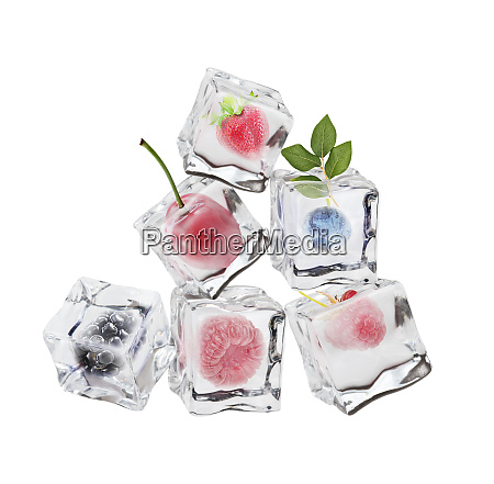 different berries in ice cubes on